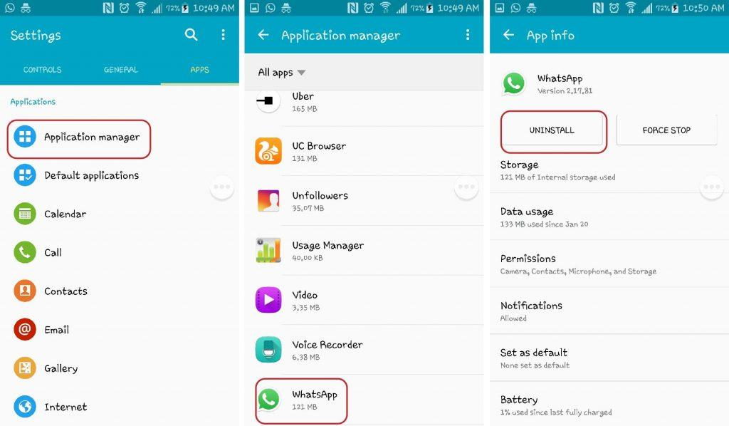 4.Uninstall WhatsApp from your device by going to Settings ></noscript> Applications Manager and Tap on WhatsApp. Then Tap Uninstall.