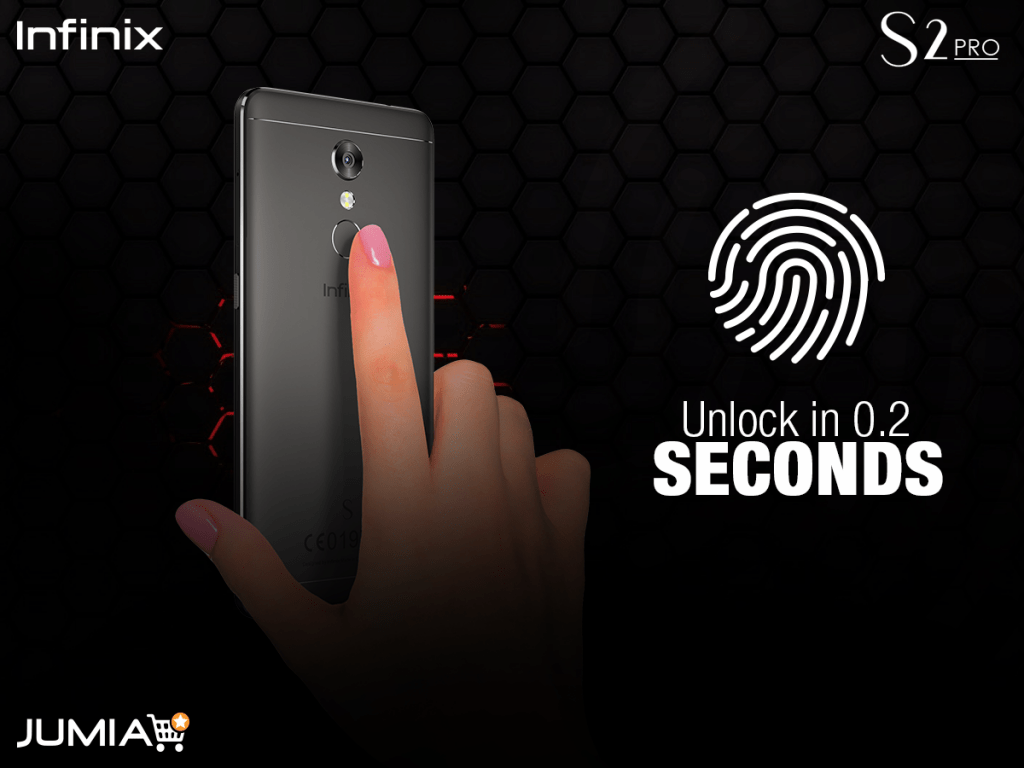 the Infinx S2 pro has a fingerprint sensor